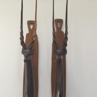Pair 1960s Teak Wall Mounted Antelopes