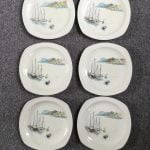 Set Of Six Midwinter Riviera Plates