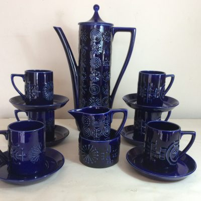 Cobalt Blue Portmeirion Totem Coffee Set