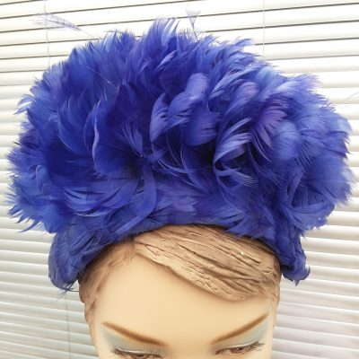 Early 1960s Blue Feather Ladies Hat, by Elys of Wimbledon 1961, in Original Box, Vintage Mid Century