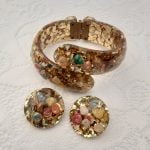 Genuine 1950s Gold Confetti Lucite Clamper Bracelet and Earrings Set, with multi-coloured sea shells, Mid Century Original Vintage