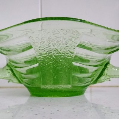 Sowerby Art Deco Elephant Handled Green Glass Dish