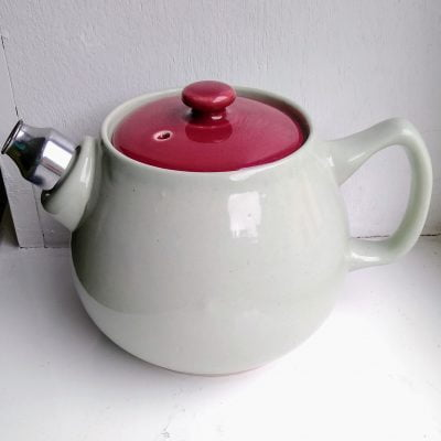 Langley (Denby) grey and red stoneware teapot with metal spout