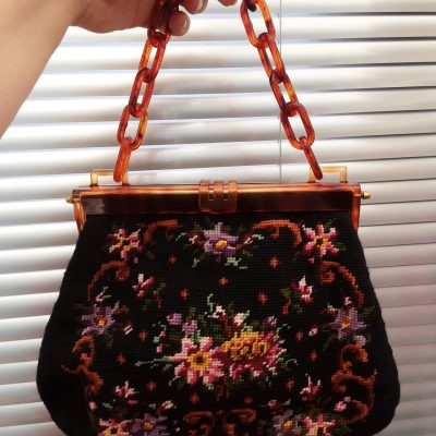Genuine 1950s Needlepoint Tapestry Handbag and Coin Purse, with Lucite Chain Handle and Frame, Mid Century