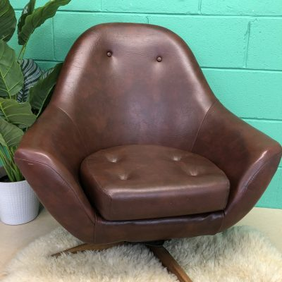 1960s Brown Vinyl Swivel Chair