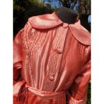 1940s Coral Satin Quilted House Coat