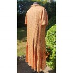 1920s VOLUP Copper & Golld printed Drop pleated Day Dress