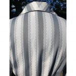 1950s French, Dove Grey & White Jacquard weave Cotton Blouse
