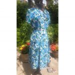 1950s Blue Cabbage Rose's Day dress