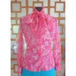 1960s Pink Paisley Pussycat Bow Blouse