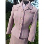 1940's Countess of London Heather & Pink Finest Scottish Wool Skirt Suit