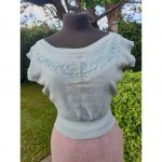 1950s N.O.S Powder Blue Pure Zepher Wool Beaded Sweater