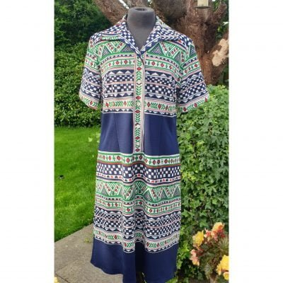 1970s VOLUP Novelty Print Button Through Shirt Dress