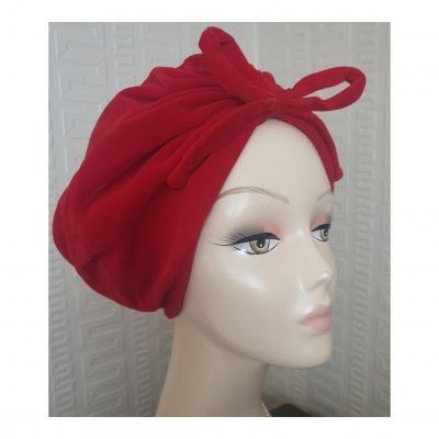 1960's/70's Otto Lucas Red Plush Velvet Turban
