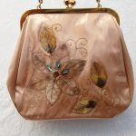 Genuine 1950s Vinyl Purse with Jewelled Velvet Flower Embellishment, chain handle and kiss clasp, Vintage, Mid Century
