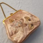 1950s Vinyl Purse with Jewelled Velvet Flower Embellishment, chain handle and kiss clasp, Vintage, Mid Century