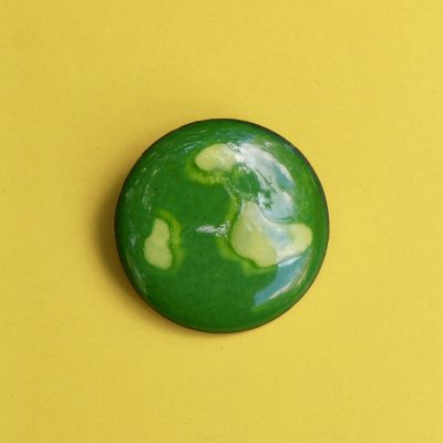Green and Yellow Circular 1950s Enamel Brooch