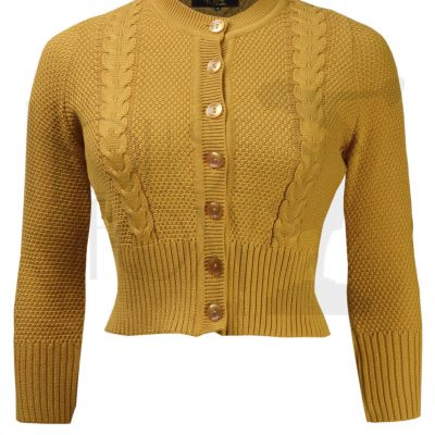 Vintage Style Cable Crop Cardigan – Mustard Wool Mix