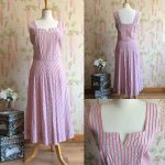 1940s Cotton Seersucker Chevron Dress