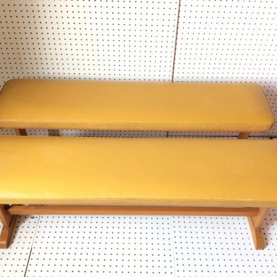 A Pair Of 1970's Mustard Yellow Vinyl Benches