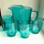 Retro blue green glass jug set