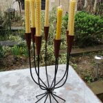 Vintage Danish Teak & Metal String Candle Holder Candelabra