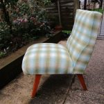 Vintage Wool Check Cocktail Bedroom Lounge Accent Chair