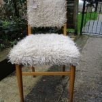 Vintage 1950s /60s Cream Furry Cocktail Dining Chair w/ Beech Legs