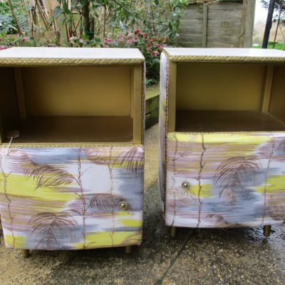 Pair of Vintage Yellow Barkcloth Bedside Cabinets