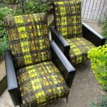 Pair of 50s/60s Vintage Black & Yellow Cocktail Arm Chairs