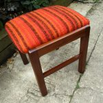 Vintage Nathan Teak Dressing Table Foot Stool Orange Boucle