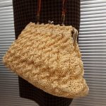Genuine 1950s Light Yellow Raffia Bag with Metal Frame and Tortoiseshell colour plastic handle, Mid Century, Vintage