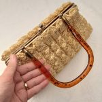 1950s Light Yellow Raffia Bag with Metal Frame and Tortoiseshell colour plastic handle, Mid Century, Vintage