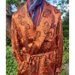 1930s Deco Gentleman's Copper Gold Jacquard Smoking Jacket Dressing Robe