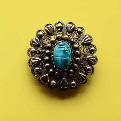 Egyptian Revival Silver and Faience Scarab Brooch