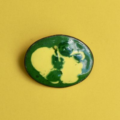 Green and Yellow Oval 1950s Enamel Brooch
