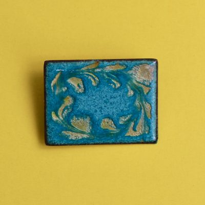 Turquoise Rectangle 1950s Enamel Brooch