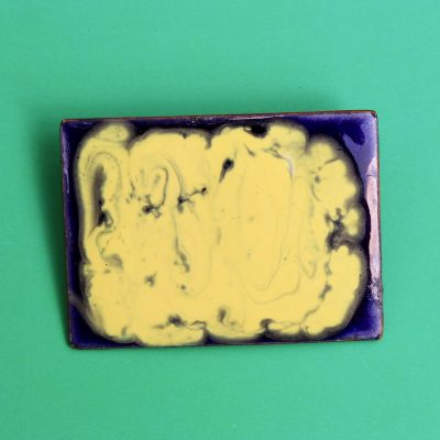 Large Purple and Yellow Rectangle 1950s Enamel Brooch