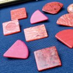 1980s Acrylic Upcycled Geometric Pins Red Hot Pink