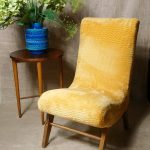 Vintage Petite Yellow Furry Cocktail Bedroom Accent Chair