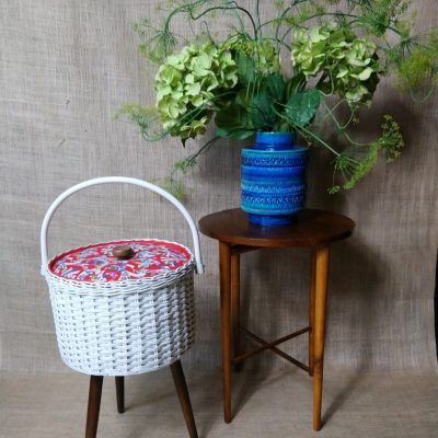 Vintage West German Sewing Box Basket Tripod Legs