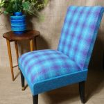 Vintage Petite Blue & Purple Cocktail Bedroom Accent Chair