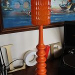 Vintage 70s Orange Wood Table Lamp