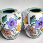 Pair of Gouda Viola Hand Painted Pottery Vases