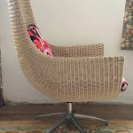HIGH BACK WICKER SWIVEL CHAIR 1970'S