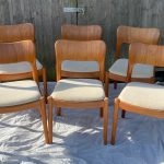 SET OF 6 1960'S DINING CHAIRS BY NIELS KOEFOED FOR KOEFOEDS HORNSLET, DENMARK.