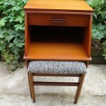 Vintage Chippy Heath Telephone Hall Table Seat Teak Black Wool