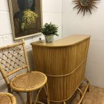 Vintage Bamboo Bar and 2 Bar stools