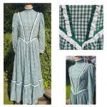 1970's Emerald Green & White Gingham Prairie Maxi Dress