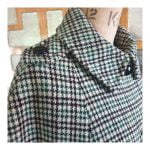 1960s Black, Green & White Plaid Tartan Wool Cape by Van Wayne London